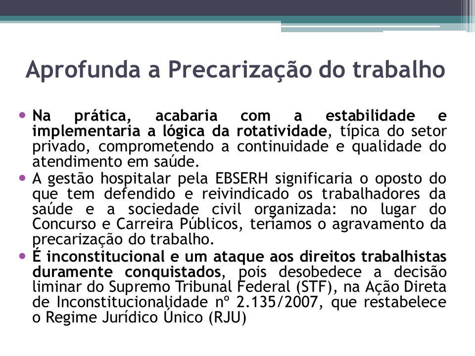 Aprofunda a Precarização do trabalho Na prática, acabaria com a estabilidade e implementaria a lógica da rotatividade, típica do setor privado, compro