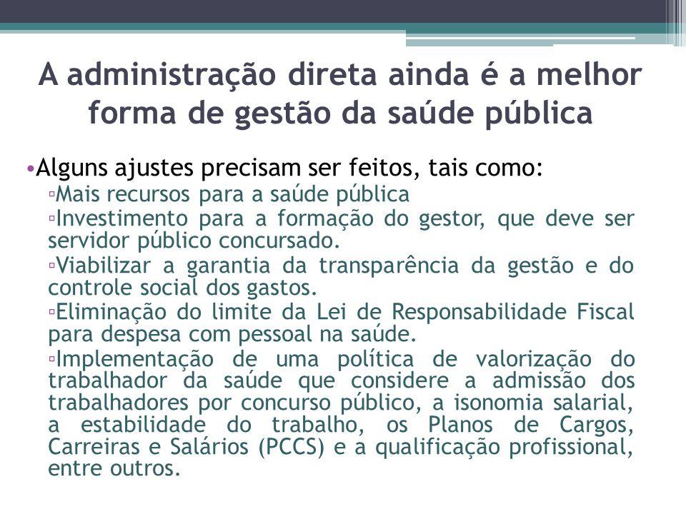 A administração direta ainda é a melhor forma de gestão da saúde pública Alguns ajustes precisam ser feitos, tais como: Mais recursos para a saúde púb