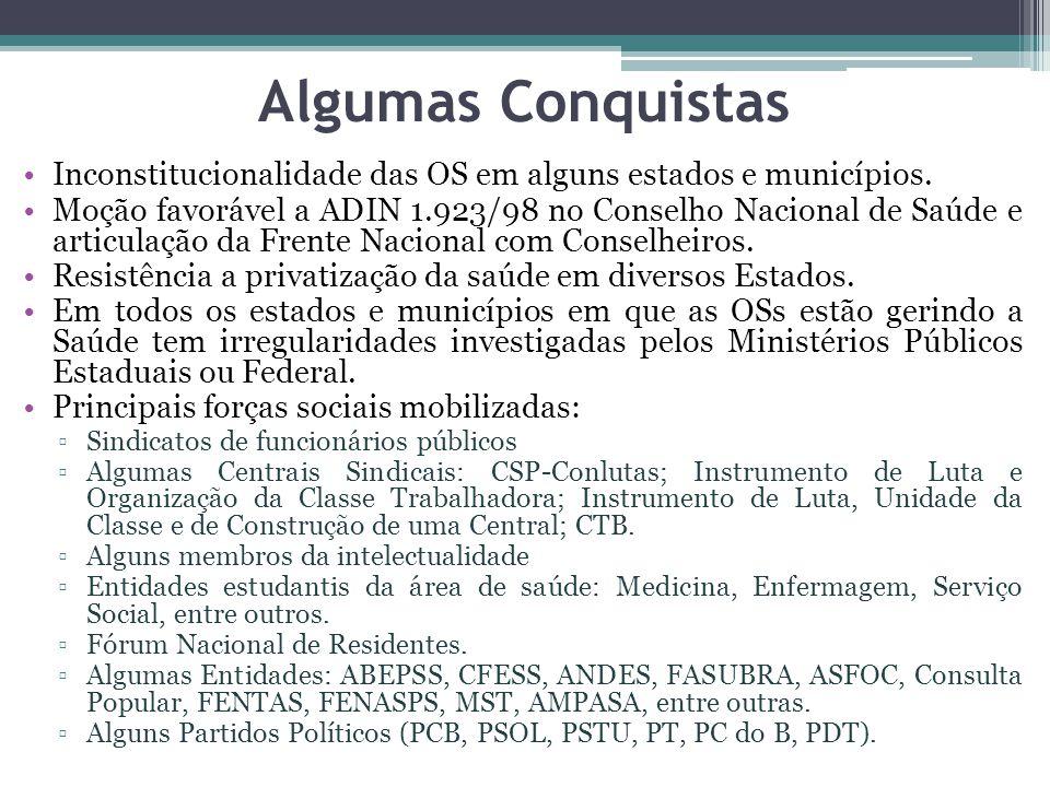 Algumas Conquistas Inconstitucionalidade das OS em alguns estados e municípios. Moção favorável a ADIN 1.923/98 no Conselho Nacional de Saúde e articu