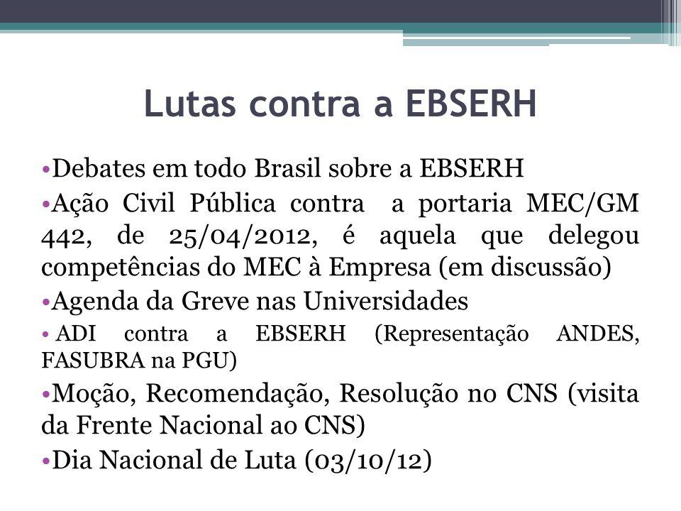 Lutas contra a EBSERH Debates em todo Brasil sobre a EBSERH Ação Civil Pública contra a portaria MEC/GM 442, de 25/04/2012, é aquela que delegou compe