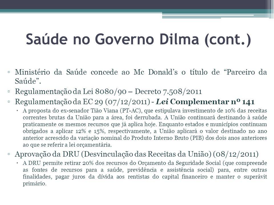 Saúde no Governo Dilma (cont.) Ministério da Saúde concede ao Mc Donalds o título de Parceiro da Saúde. Regulamentação da Lei 8080/90 – Decreto 7.508/