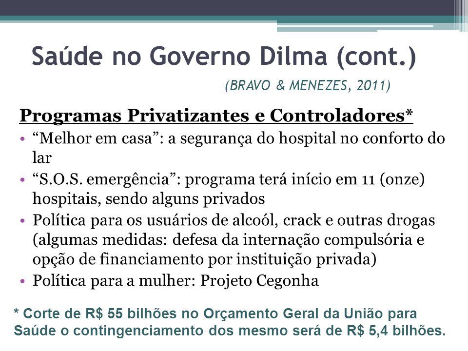 Saúde no Governo Dilma (cont.) (BRAVO & MENEZES, 2011) Programas Privatizantes e Controladores* Melhor em casa: a segurança do hospital no conforto do