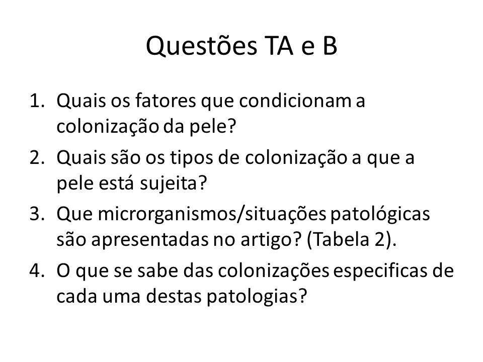 Questões TA e B 1.Quais os fatores que condicionam a colonização da pele? 2.Quais são os tipos de colonização a que a pele está sujeita? 3.Que microrg