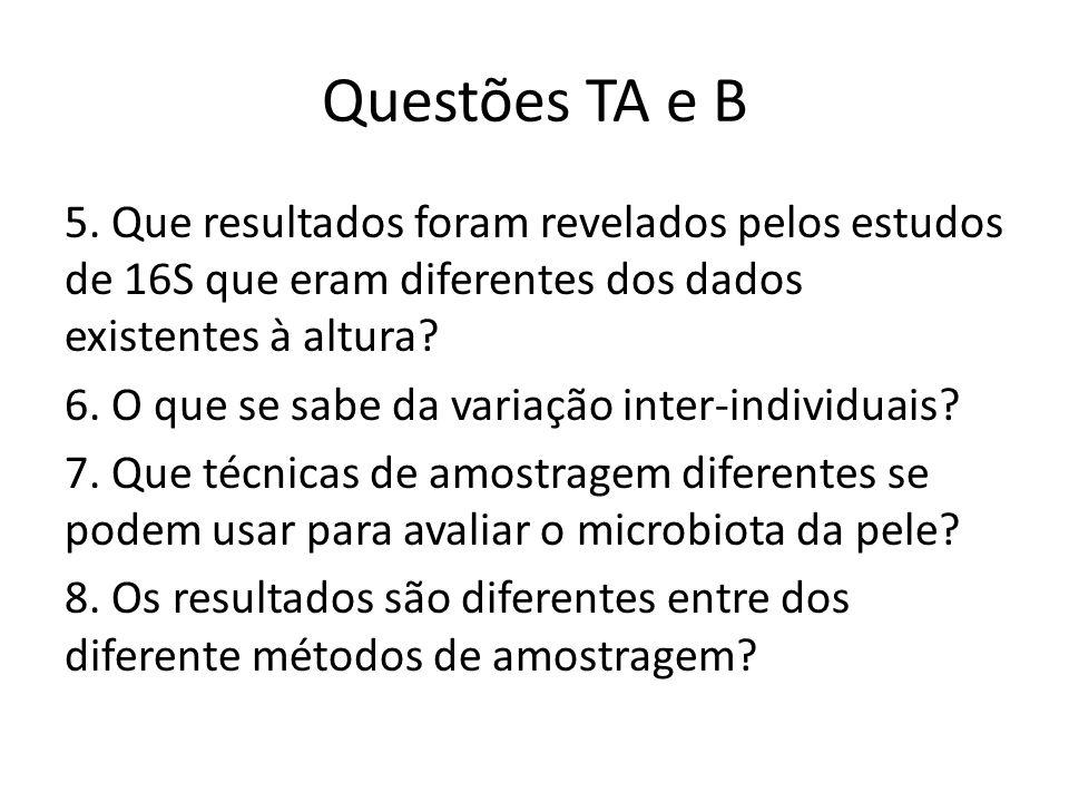 Questões TA e B 5. Que resultados foram revelados pelos estudos de 16S que eram diferentes dos dados existentes à altura? 6. O que se sabe da variação