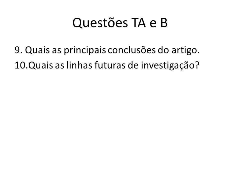 Questões TA e B 9. Quais as principais conclusões do artigo. 10.Quais as linhas futuras de investigação?