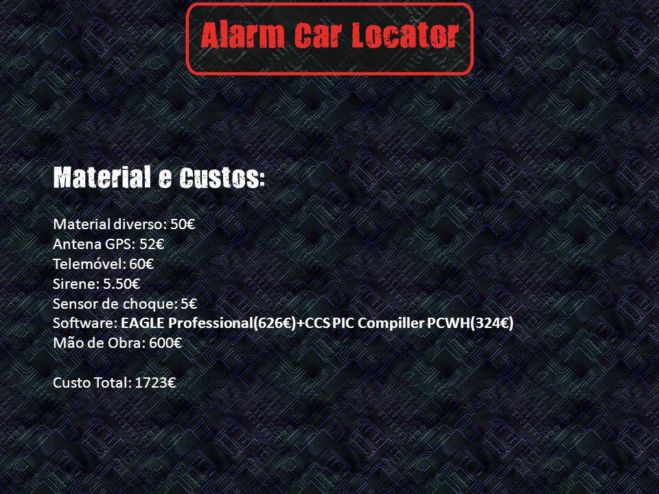 Material e Custos: Material diverso: 50 Antena GPS: 52 Telemóvel: 60 Sirene: 5.50 Sensor de choque: 5 Software: EAGLE Professional(626)+CCS PIC Compiller PCWH(324) Mão de Obra: 600 Custo Total: 1723