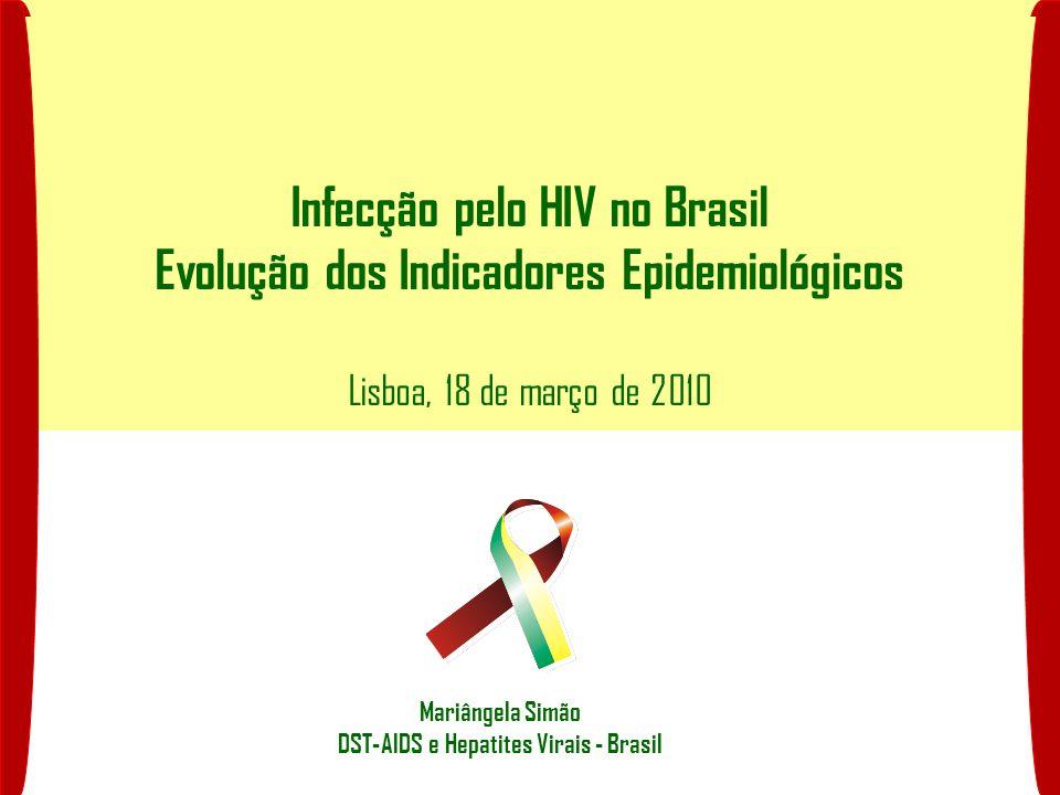 Infecção pelo HIV no Brasil Evolução dos Indicadores Epidemiológicos Lisboa, 18 de março de 2010 Mariângela Simão DST-AIDS e Hepatites Virais - Brasil