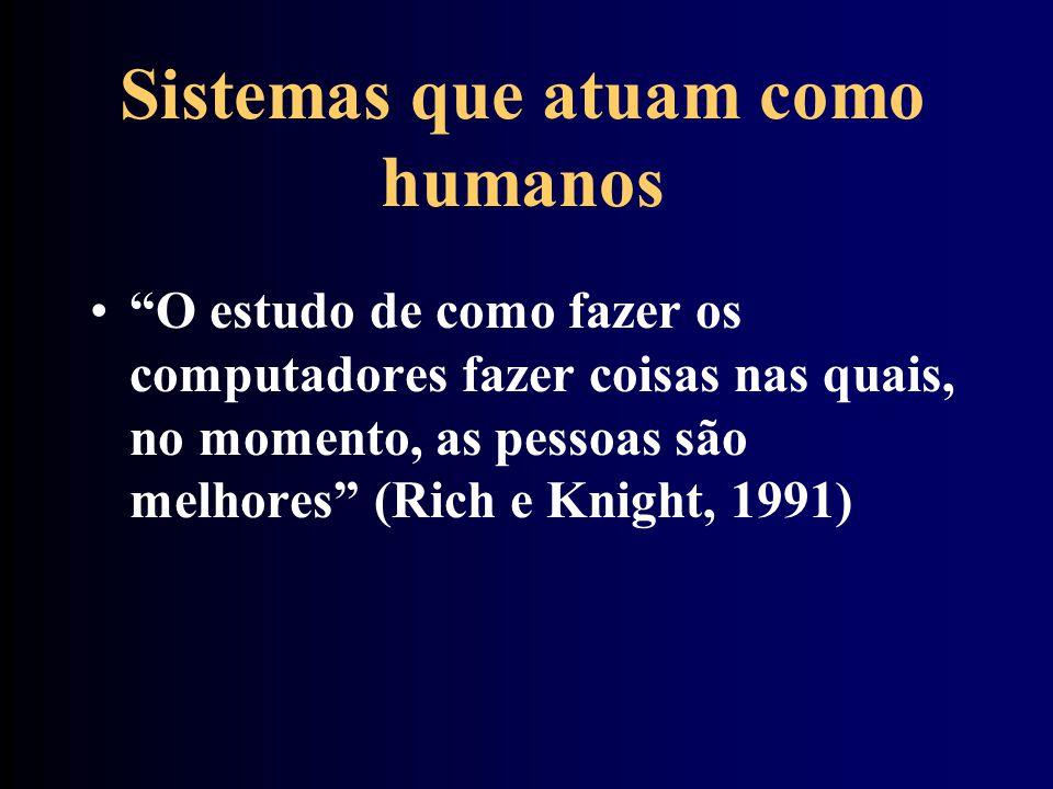 Sistemas que atuam como humanos O estudo de como fazer os computadores fazer coisas nas quais, no momento, as pessoas são melhores (Rich e Knight, 199