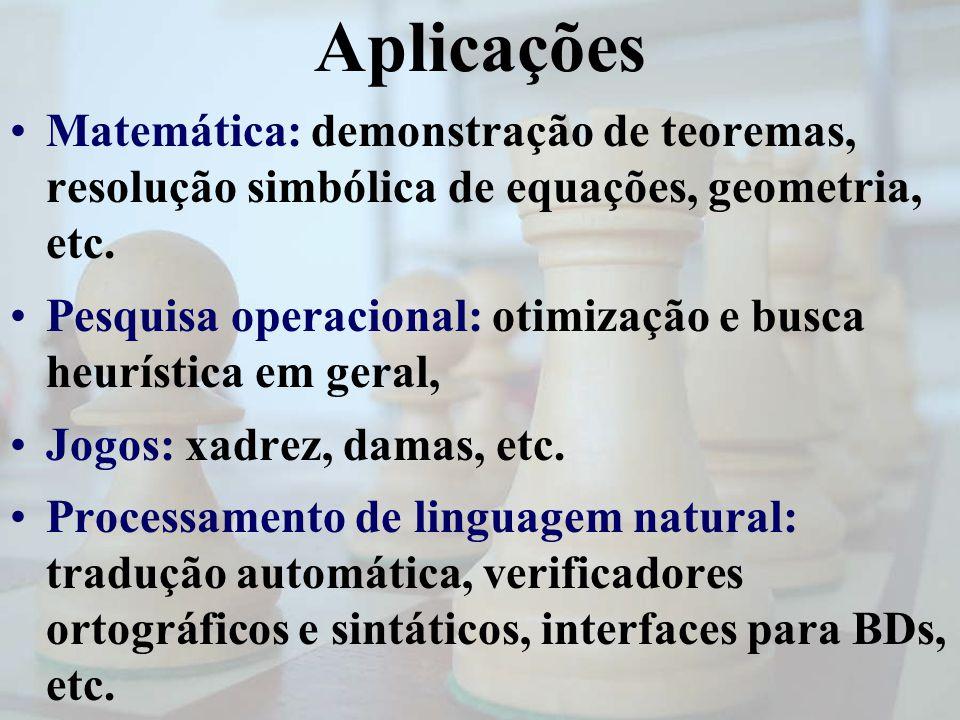 Aplicações Matemática: demonstração de teoremas, resolução simbólica de equações, geometria, etc. Pesquisa operacional: otimização e busca heurística