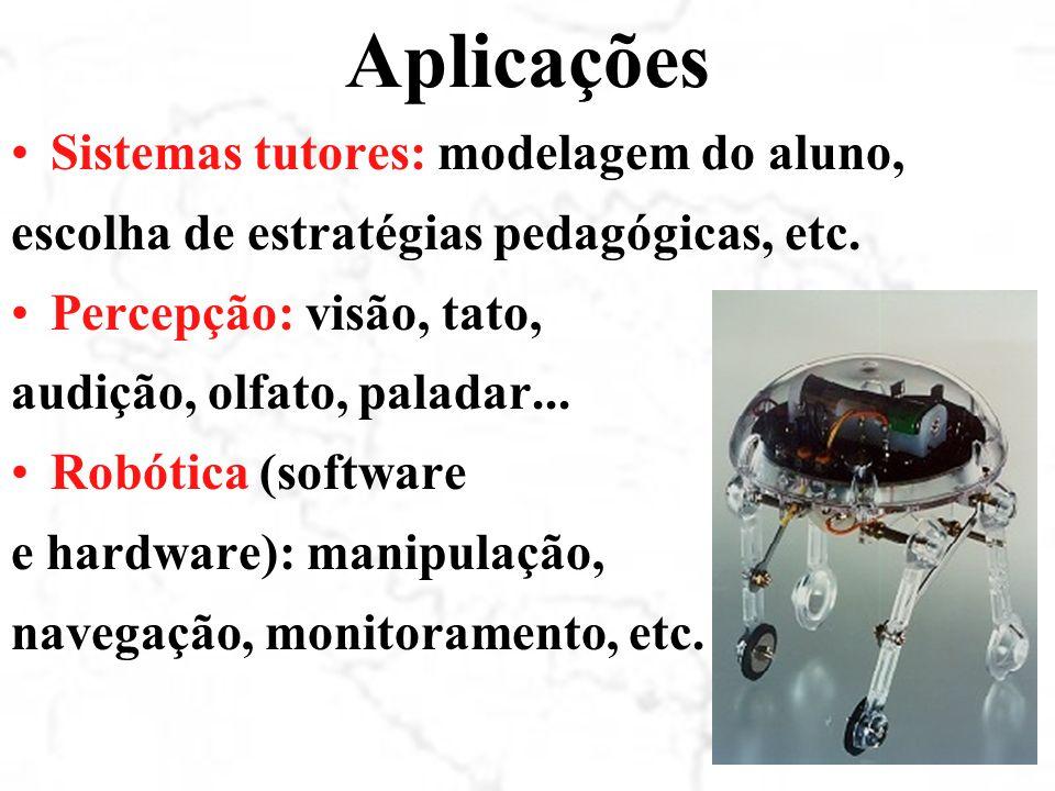 Aplicações Sistemas tutores: modelagem do aluno, escolha de estratégias pedagógicas, etc.