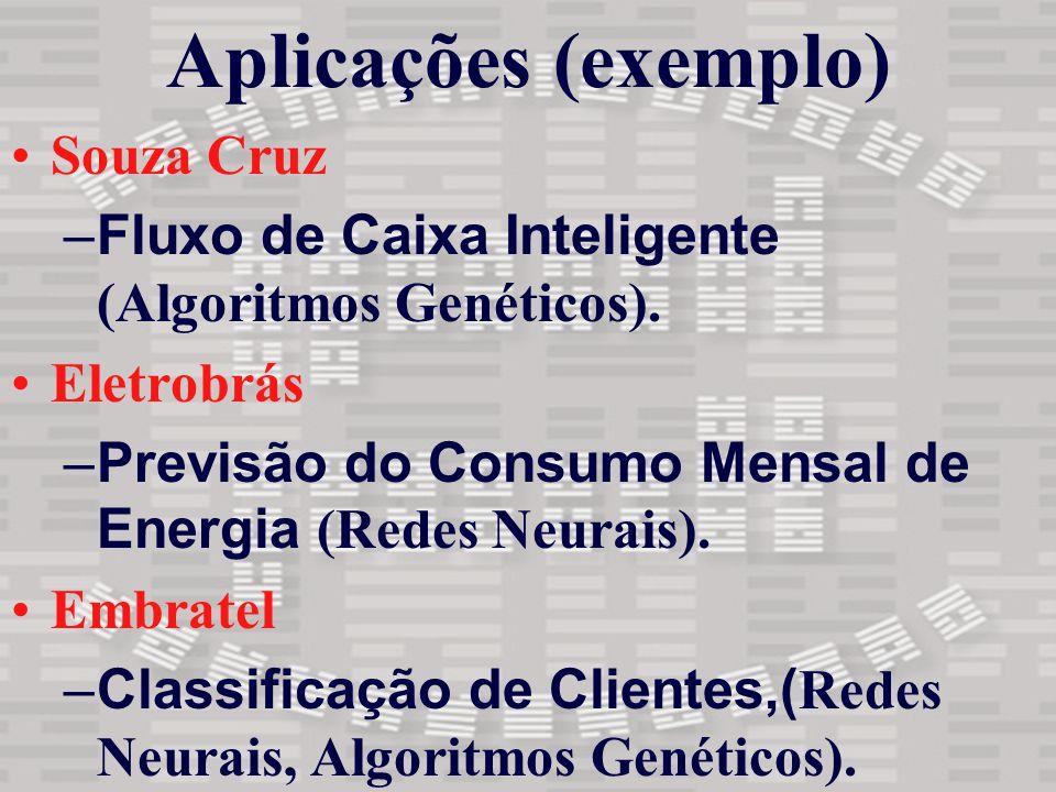 Aplicações (exemplo) Souza Cruz –Fluxo de Caixa Inteligente (Algoritmos Genéticos). Eletrobrás –Previsão do Consumo Mensal de Energia (Redes Neurais).