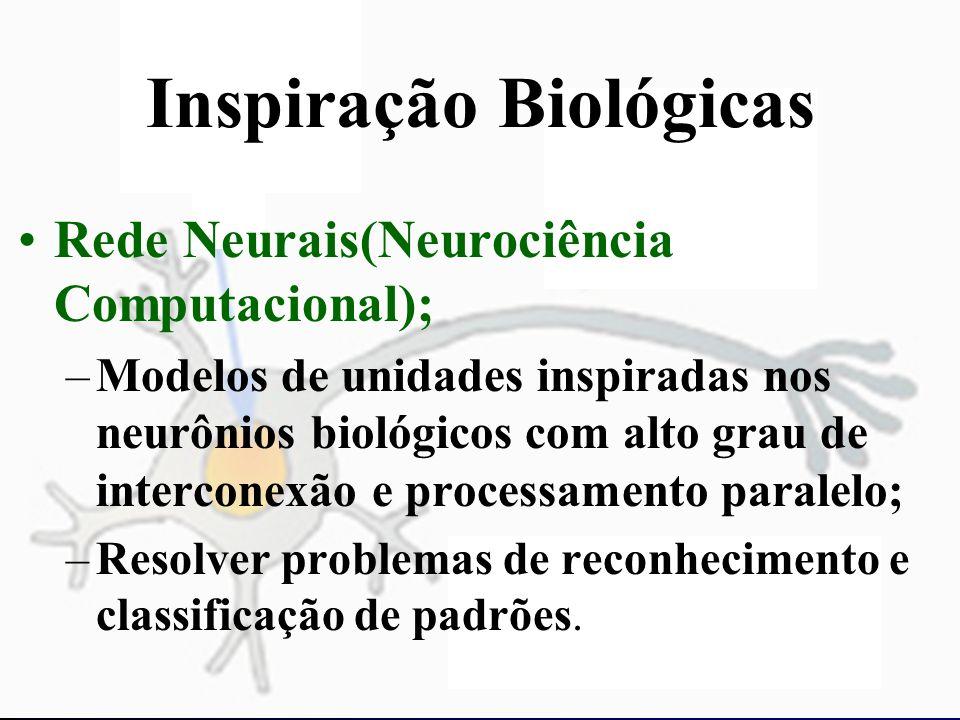 Inspiração Biológicas Rede Neurais(Neurociência Computacional); –Modelos de unidades inspiradas nos neurônios biológicos com alto grau de interconexão