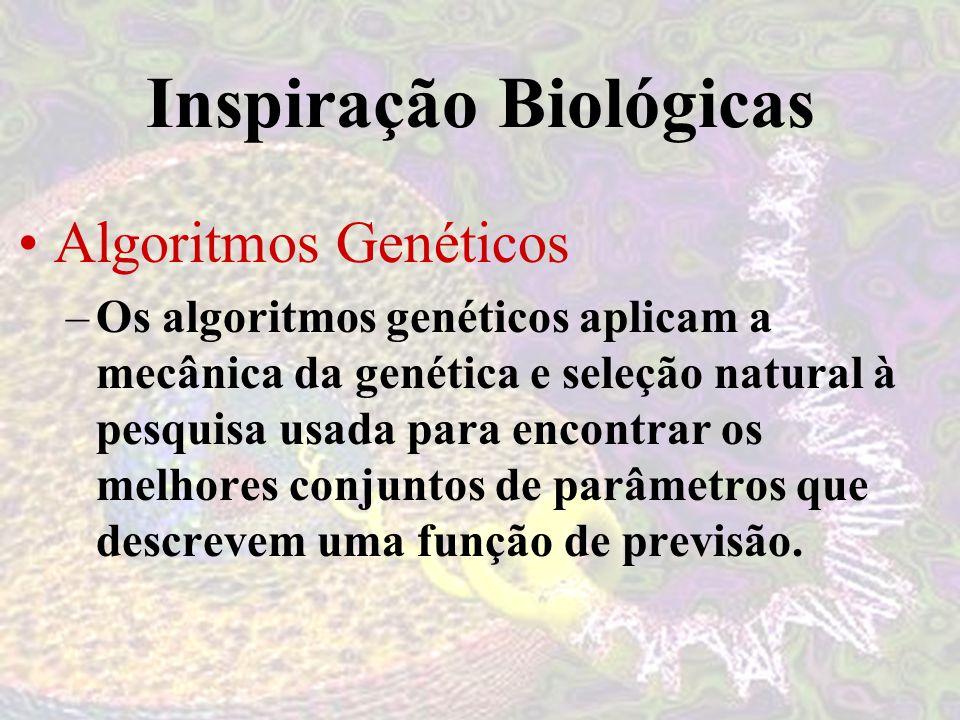 Inspiração Biológicas Algoritmos Genéticos –Os algoritmos genéticos aplicam a mecânica da genética e seleção natural à pesquisa usada para encontrar os melhores conjuntos de parâmetros que descrevem uma função de previsão.