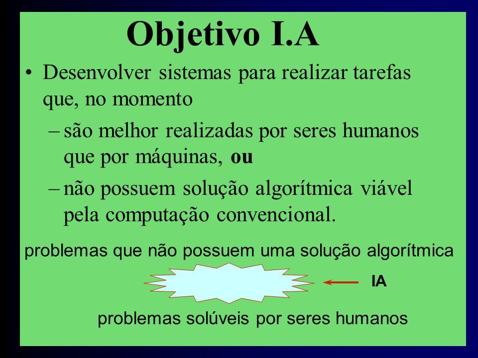 IA Objetivo I.A problemas solúveis por seres humanos Desenvolver sistemas para realizar tarefas que, no momento –são melhor realizadas por seres humanos que por máquinas, ou –não possuem solução algorítmica viável pela computação convencional.