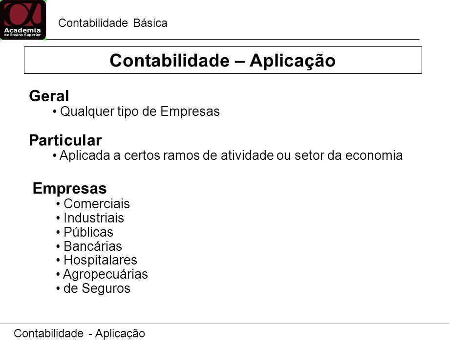 Contabilidade Básica Contabilidade - Aplicação Geral Qualquer tipo de Empresas Particular Aplicada a certos ramos de atividade ou setor da economia Empresas Comerciais Industriais Públicas Bancárias Hospitalares Agropecuárias de Seguros Contabilidade – Aplicação