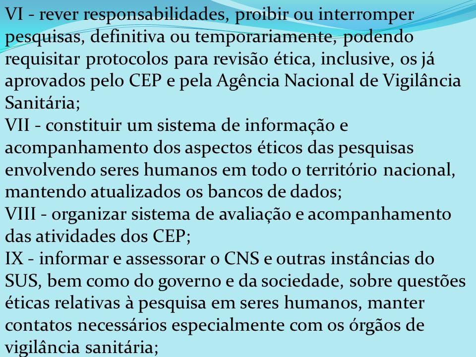 VI - rever responsabilidades, proibir ou interromper pesquisas, definitiva ou temporariamente, podendo requisitar protocolos para revisão ética, inc