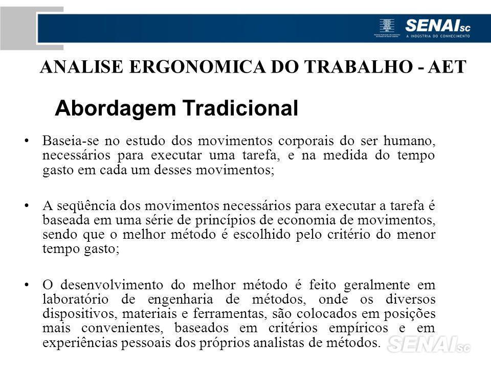 ANALISE ERGONOMICA DO TRABALHO AET Segundo a legislação brasileira na Norma Regulamentadora 17, para avaliar a adaptação das condições de trabalho às características psicofisiológicas dos trabalhadores, cabe ao empregador realizar a análise ergonômica do trabalho, devendo a mesma abordar, no mínimo, as condições de trabalho.