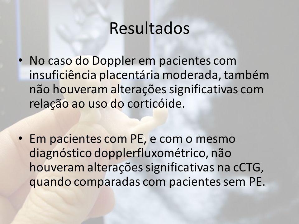 Resultados No caso do Doppler em pacientes com insuficiência placentária moderada, também não houveram alterações significativas com relação ao uso do