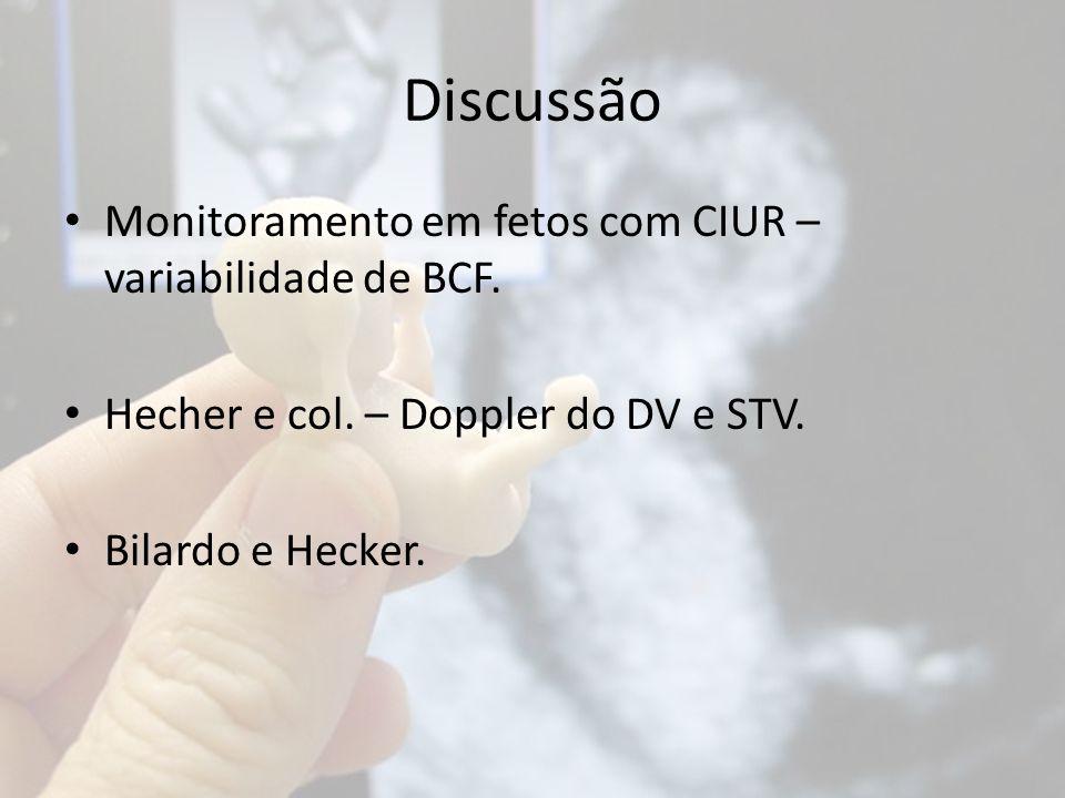 Discussão Monitoramento em fetos com CIUR – variabilidade de BCF. Hecher e col. – Doppler do DV e STV. Bilardo e Hecker.