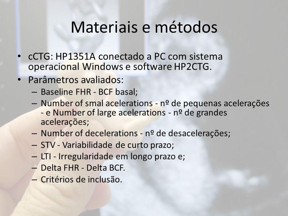 Materiais e métodos cCTG: HP1351A conectado a PC com sistema operacional Windows e software HP2CTG. Parâmetros avaliados: – Baseline FHR - BCF basal;