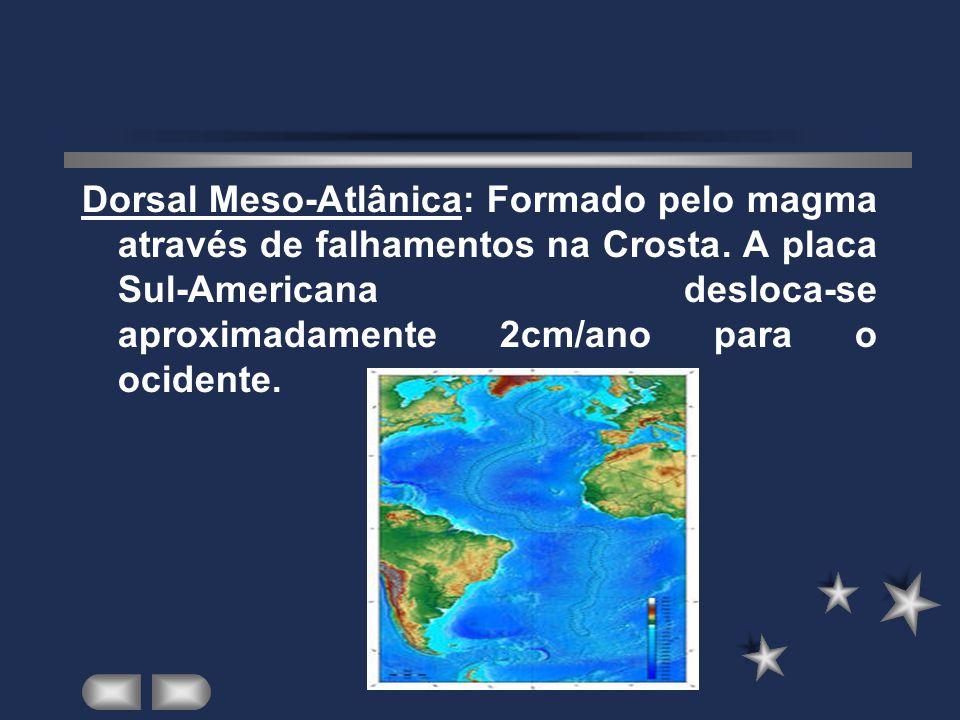 Dorsal Meso-Atlânica: Formado pelo magma através de falhamentos na Crosta.