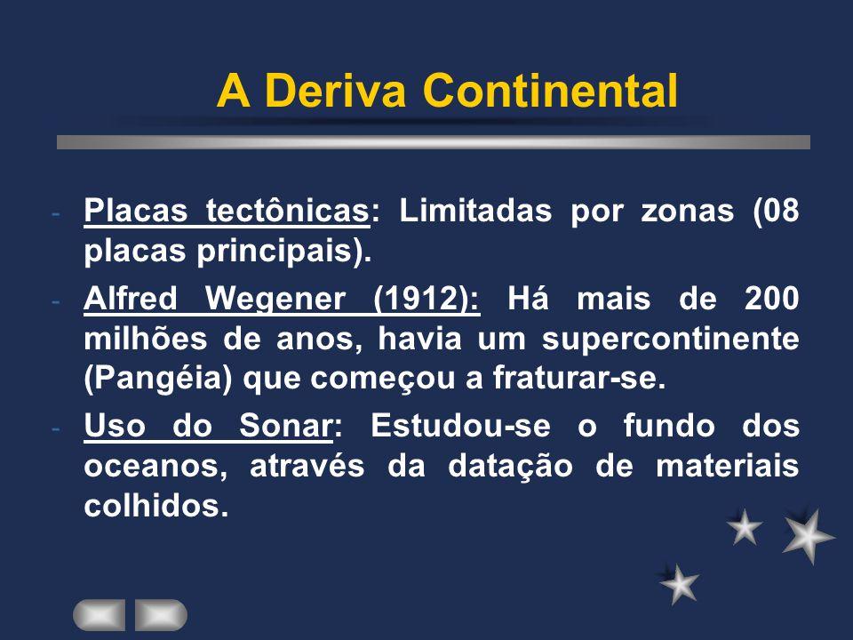 A Deriva Continental - Placas tectônicas: Limitadas por zonas (08 placas principais).
