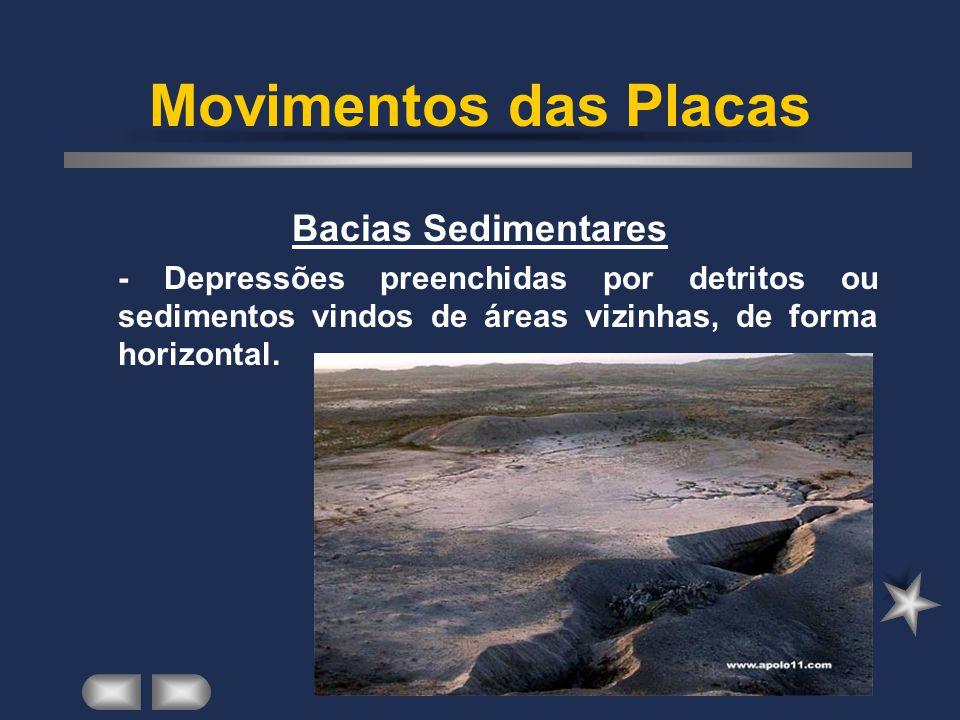 Movimentos das Placas Bacias Sedimentares - Depressões preenchidas por detritos ou sedimentos vindos de áreas vizinhas, de forma horizontal.