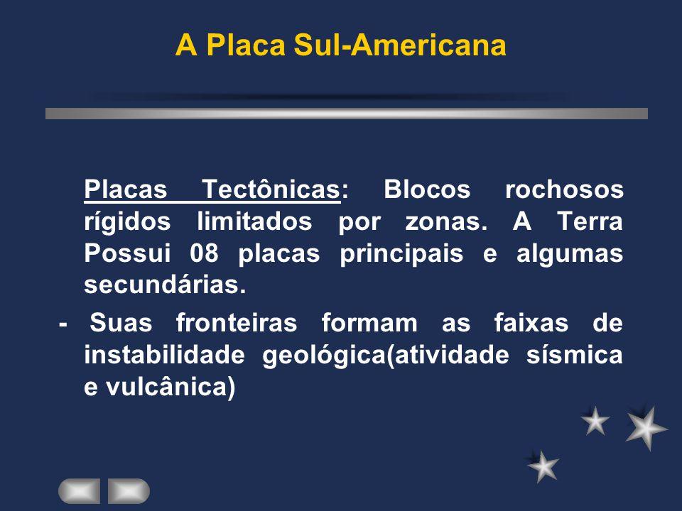 A Placa Sul-Americana Placas Tectônicas: Blocos rochosos rígidos limitados por zonas.