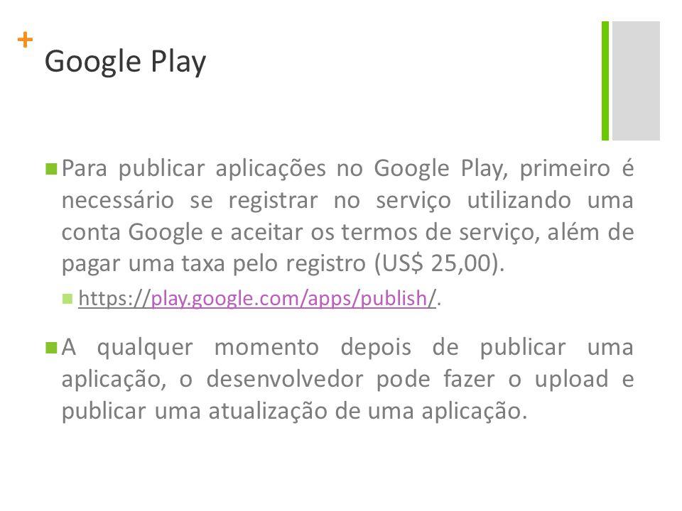 + Google Play Para publicar aplicações no Google Play, primeiro é necessário se registrar no serviço utilizando uma conta Google e aceitar os termos de serviço, além de pagar uma taxa pelo registro (US$ 25,00).