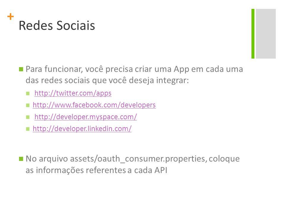 + Redes Sociais Para funcionar, você precisa criar uma App em cada uma das redes sociais que você deseja integrar: http://twitter.com/apps http://www.