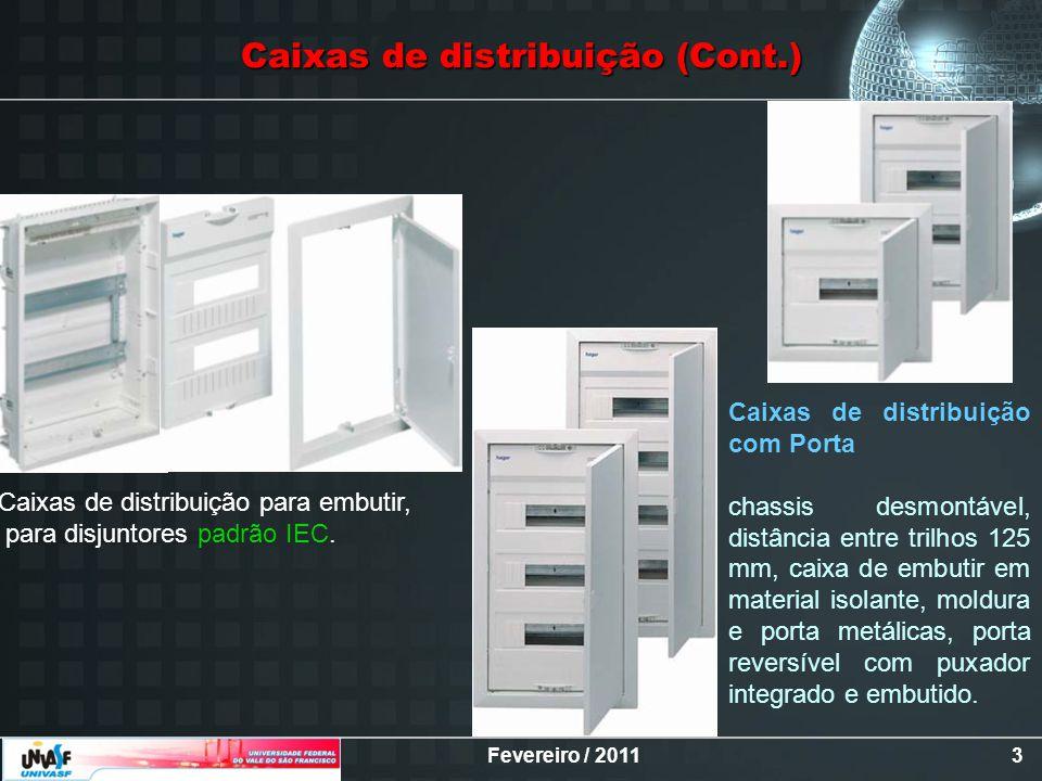 Fevereiro / 20113 Caixas de distribuição para embutir, para disjuntores padrão IEC. Caixas de distribuição com Porta chassis desmontável, distância en