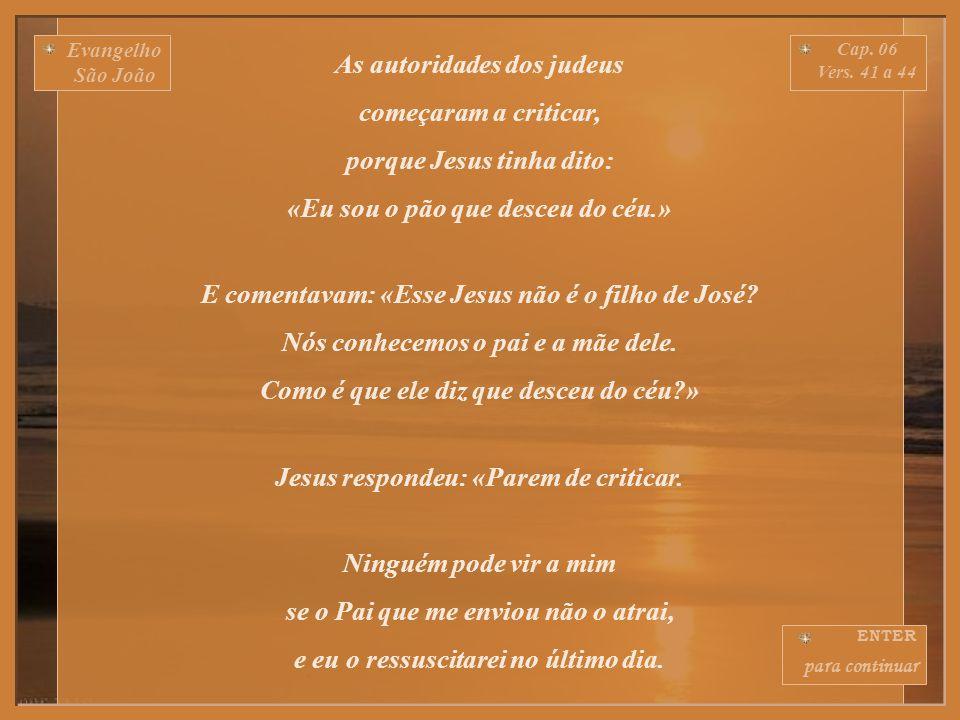 Evangelho São João Cap.06 Vers. 36 a 40 Eu já disse: vocês me viram e não acreditaram.