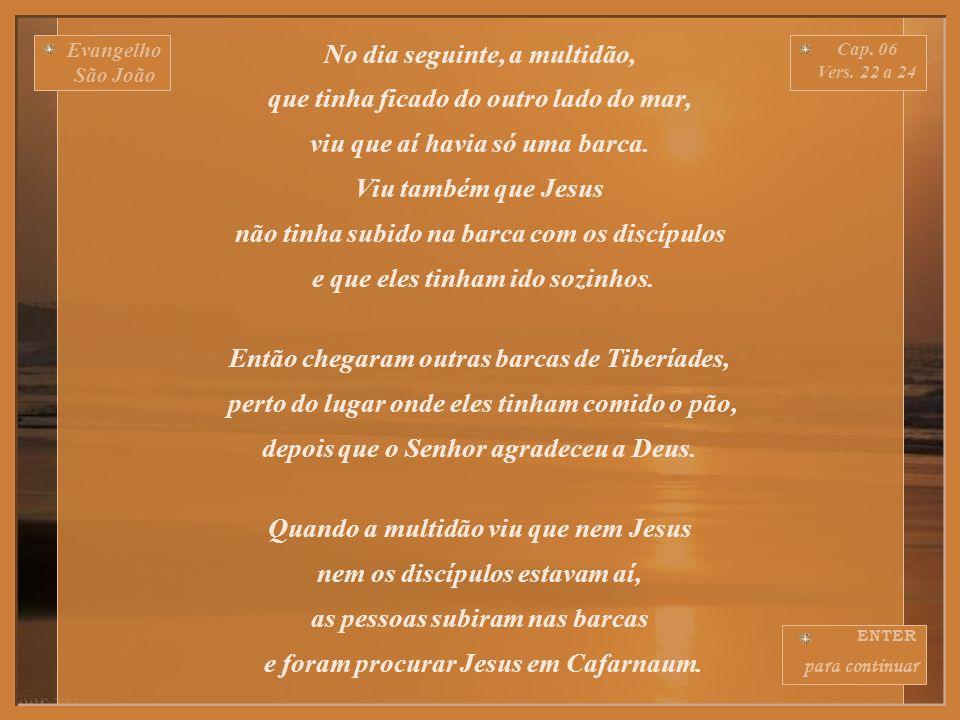 Evangelho São João Cap.06 Vers. 16 a 21 Ao cair da tarde, os discípulos de Jesus desceram ao mar.