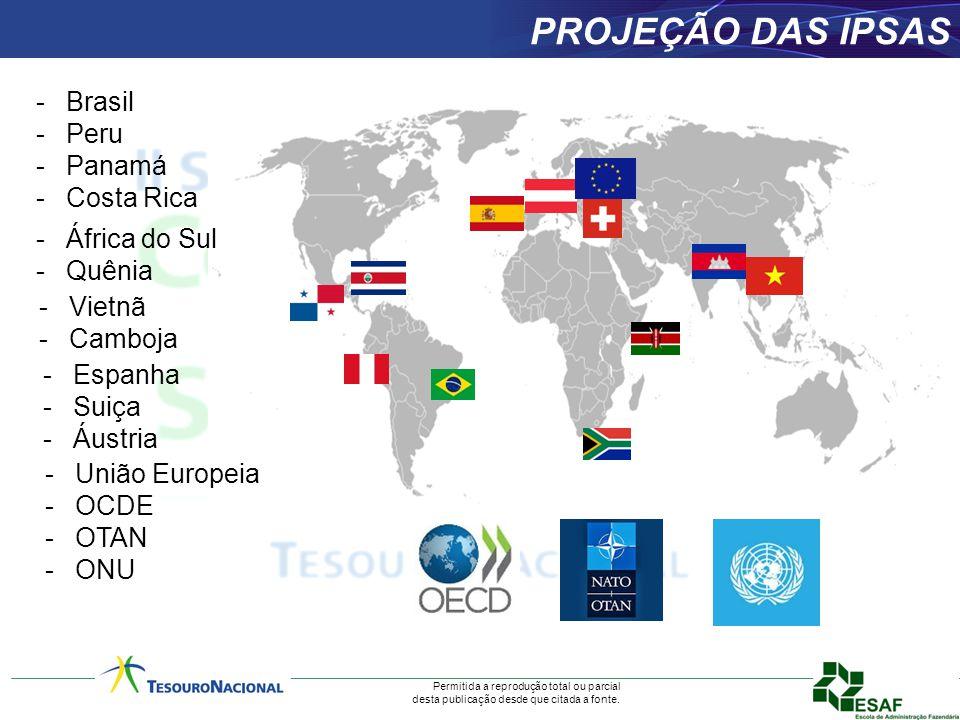 Permitida a reprodução total ou parcial desta publicação desde que citada a fonte. PROJEÇÃO DAS IPSAS -Brasil -Peru -Panamá -Costa Rica -África do Sul