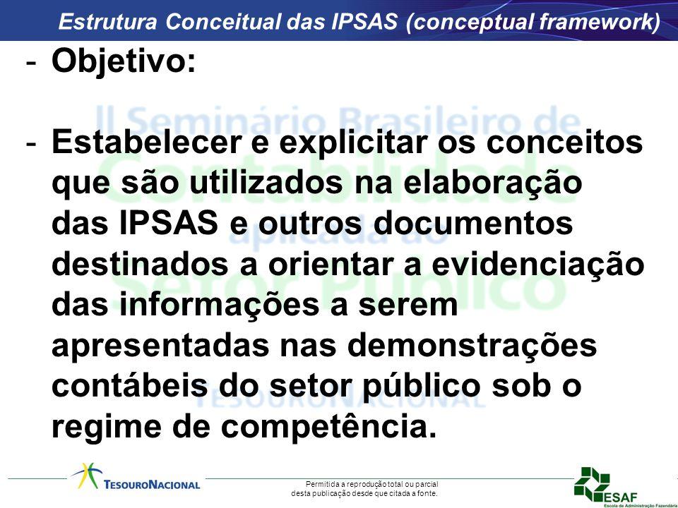 Permitida a reprodução total ou parcial desta publicação desde que citada a fonte. Estrutura Conceitual das IPSAS (conceptual framework) -Objetivo: -E