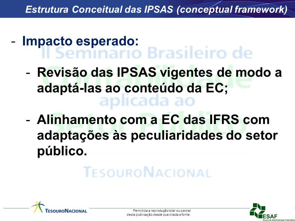 Permitida a reprodução total ou parcial desta publicação desde que citada a fonte. Estrutura Conceitual das IPSAS (conceptual framework) -Impacto espe