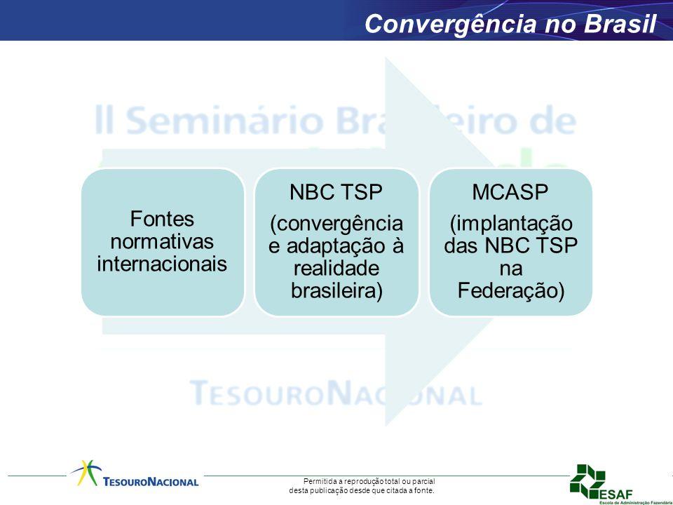 Permitida a reprodução total ou parcial desta publicação desde que citada a fonte. Convergência no Brasil Fontes normativas internacionais NBC TSP (co
