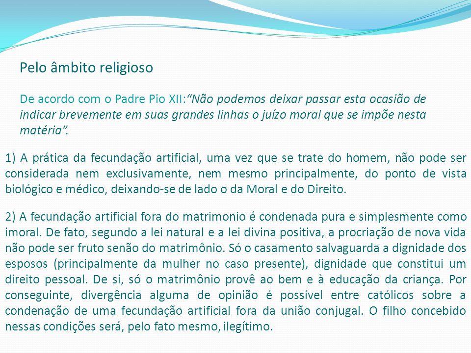 Pelo âmbito religioso De acordo com o Padre Pio XII:Não podemos deixar passar esta ocasião de indicar brevemente em suas grandes linhas o juízo moral