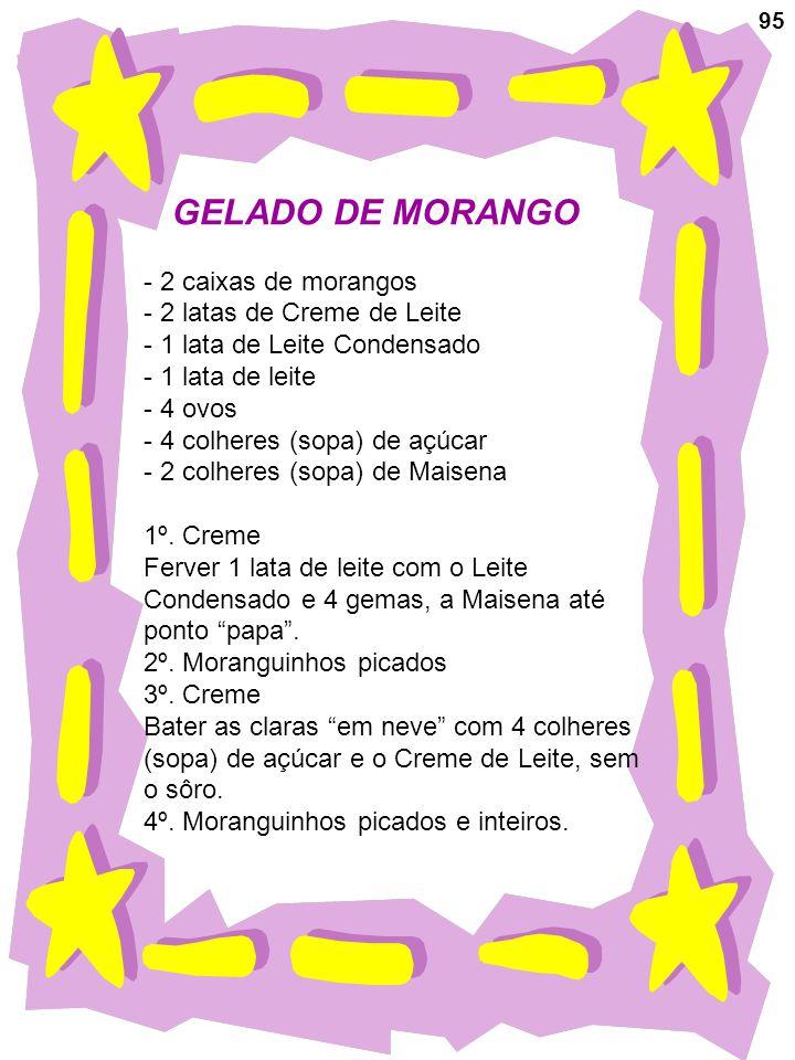 95 GELADO DE MORANGO - 2 caixas de morangos - 2 latas de Creme de Leite - 1 lata de Leite Condensado - 1 lata de leite - 4 ovos - 4 colheres (sopa) de