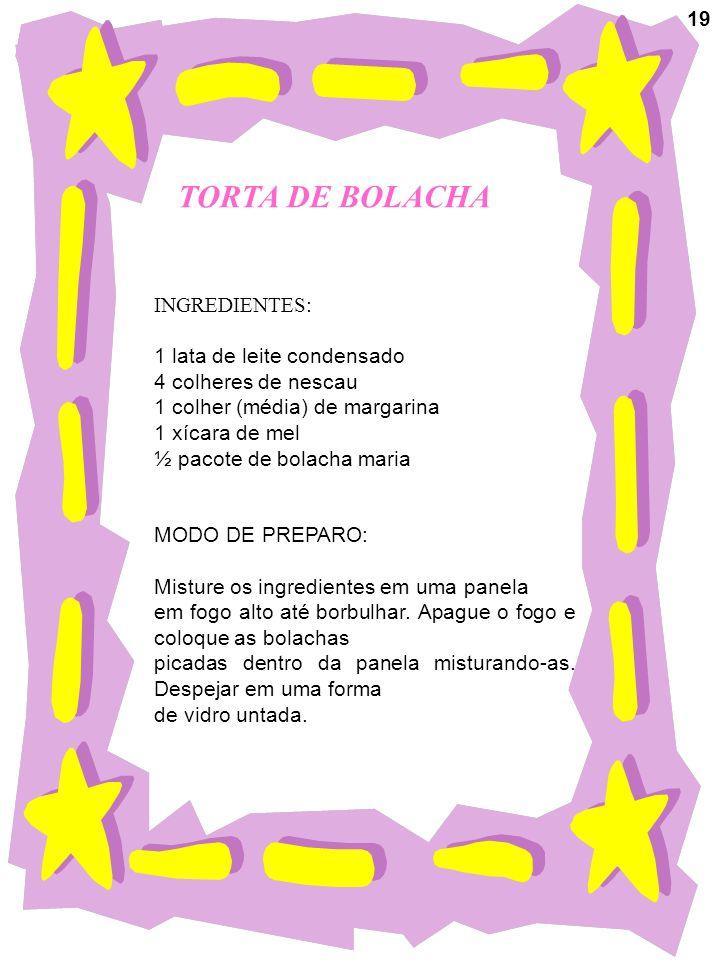 TORTA DE BOLACHA INGREDIENTES: 1 lata de leite condensado 4 colheres de nescau 1 colher (média) de margarina 1 xícara de mel ½ pacote de bolacha maria