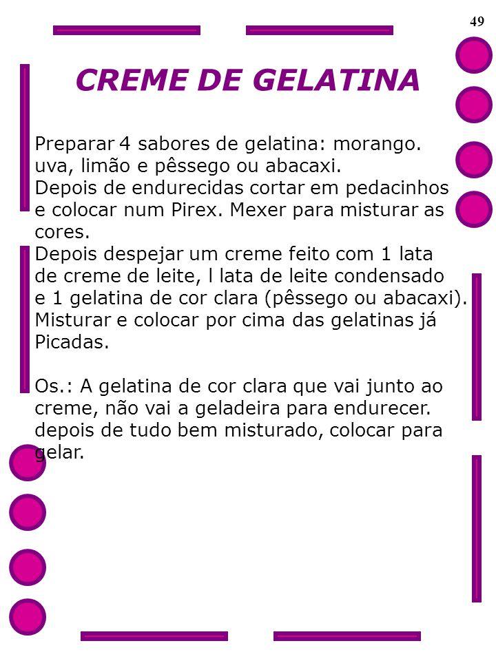 49 CREME DE GELATINA Preparar 4 sabores de gelatina: morango. uva, limão e pêssego ou abacaxi. Depois de endurecidas cortar em pedacinhos e colocar nu