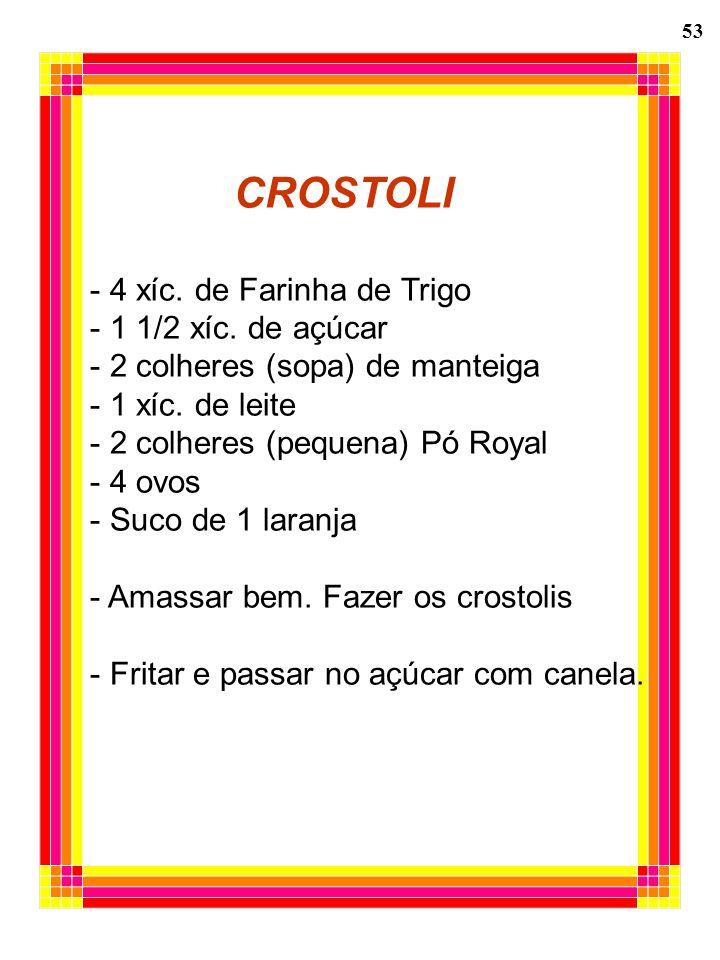 53 CROSTOLI - 4 xíc. de Farinha de Trigo - 1 1/2 xíc. de açúcar - 2 colheres (sopa) de manteiga - 1 xíc. de leite - 2 colheres (pequena) Pó Royal - 4