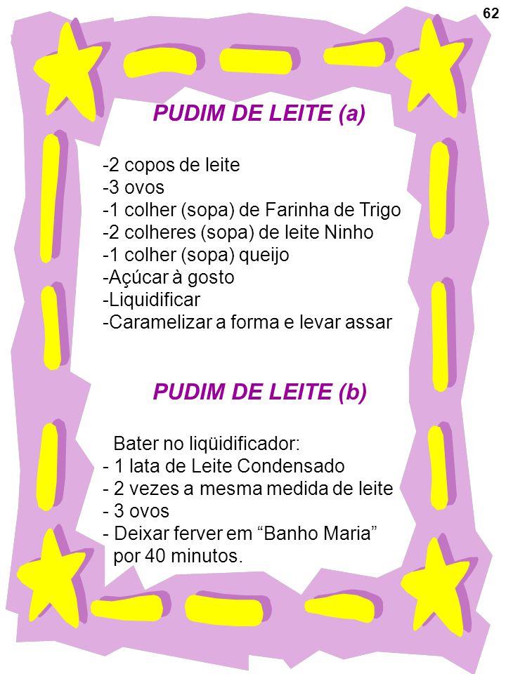 62 PUDIM DE LEITE (a) -2 copos de leite -3 ovos -1 colher (sopa) de Farinha de Trigo -2 colheres (sopa) de leite Ninho -1 colher (sopa) queijo -Açúcar