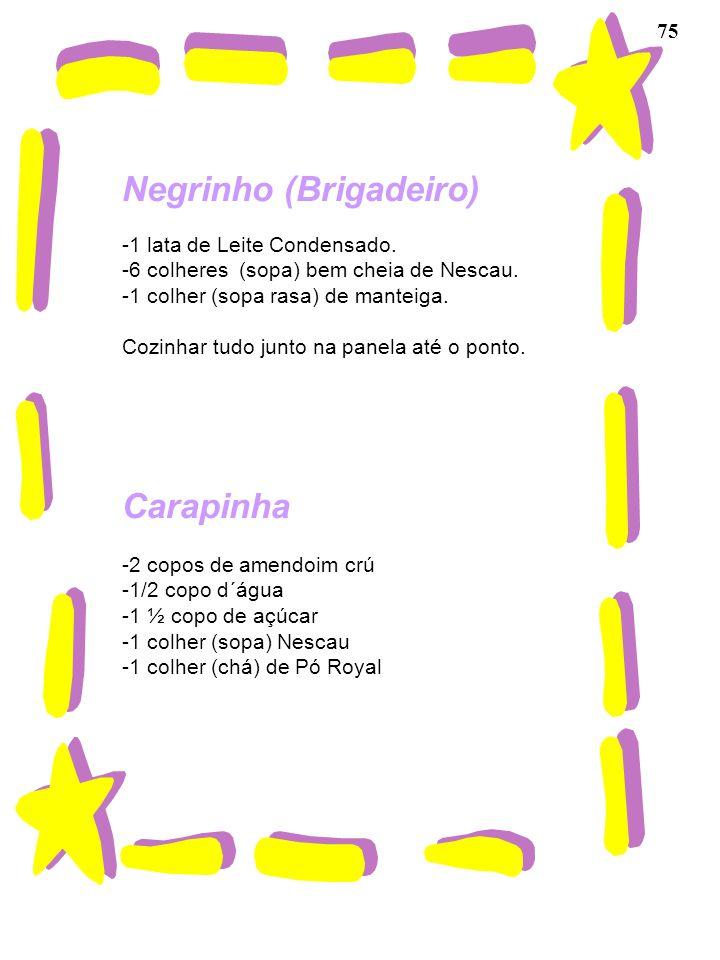 75 Negrinho (Brigadeiro) -1 lata de Leite Condensado. -6 colheres (sopa) bem cheia de Nescau. -1 colher (sopa rasa) de manteiga. Cozinhar tudo junto n