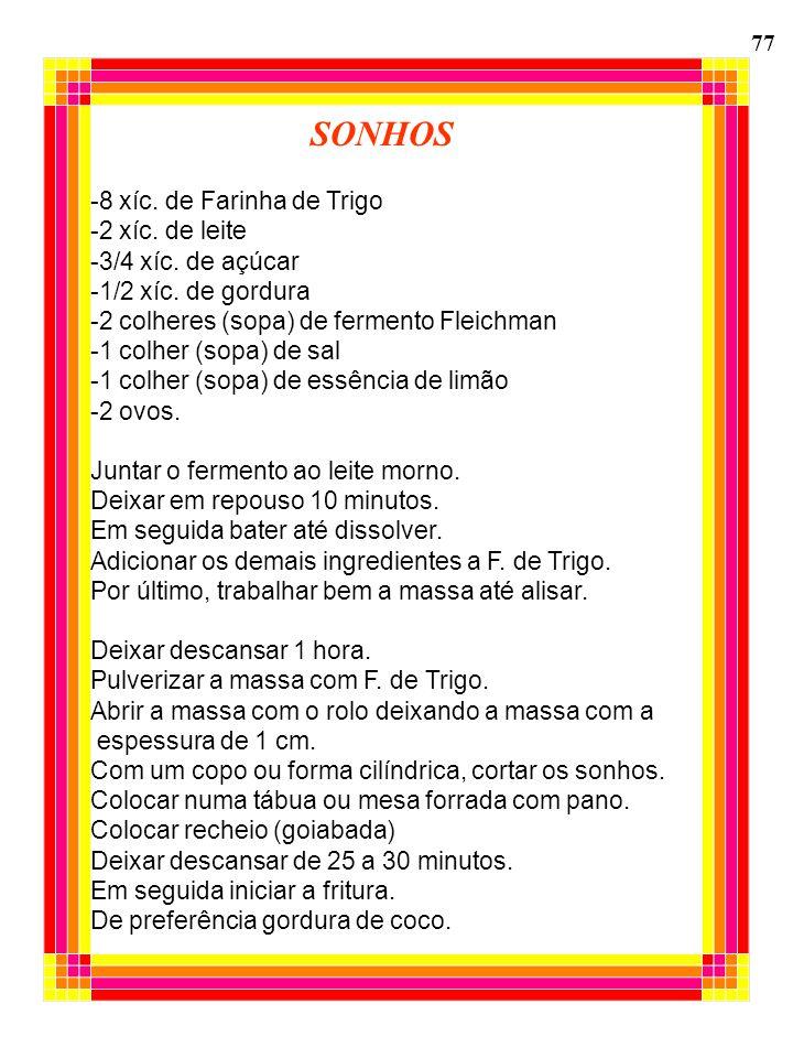 SONHOS -8 xíc. de Farinha de Trigo -2 xíc. de leite -3/4 xíc. de açúcar -1/2 xíc. de gordura -2 colheres (sopa) de fermento Fleichman -1 colher (sopa)