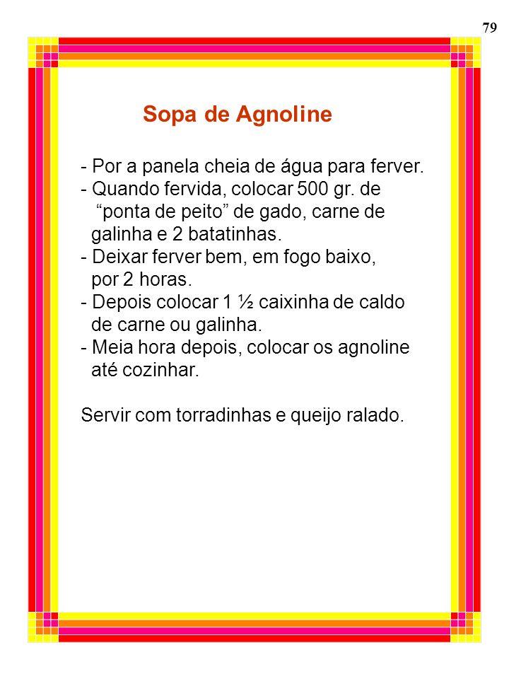 79 Sopa de Agnoline - Por a panela cheia de água para ferver. - Quando fervida, colocar 500 gr. de ponta de peito de gado, carne de galinha e 2 batati