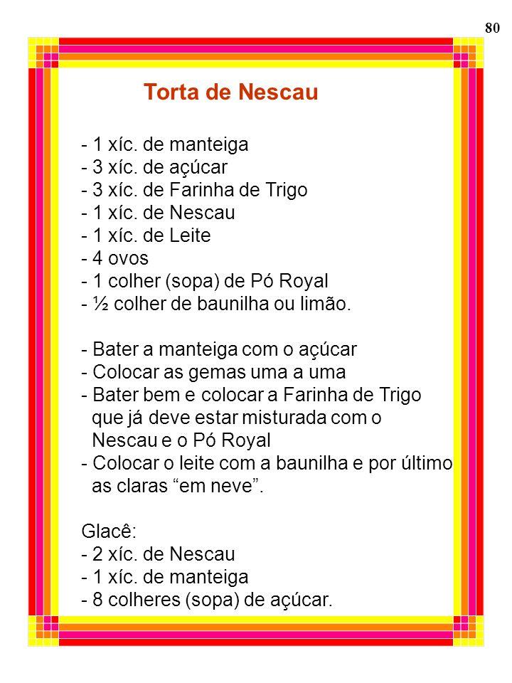 80 Torta de Nescau - 1 xíc. de manteiga - 3 xíc. de açúcar - 3 xíc. de Farinha de Trigo - 1 xíc. de Nescau - 1 xíc. de Leite - 4 ovos - 1 colher (sopa