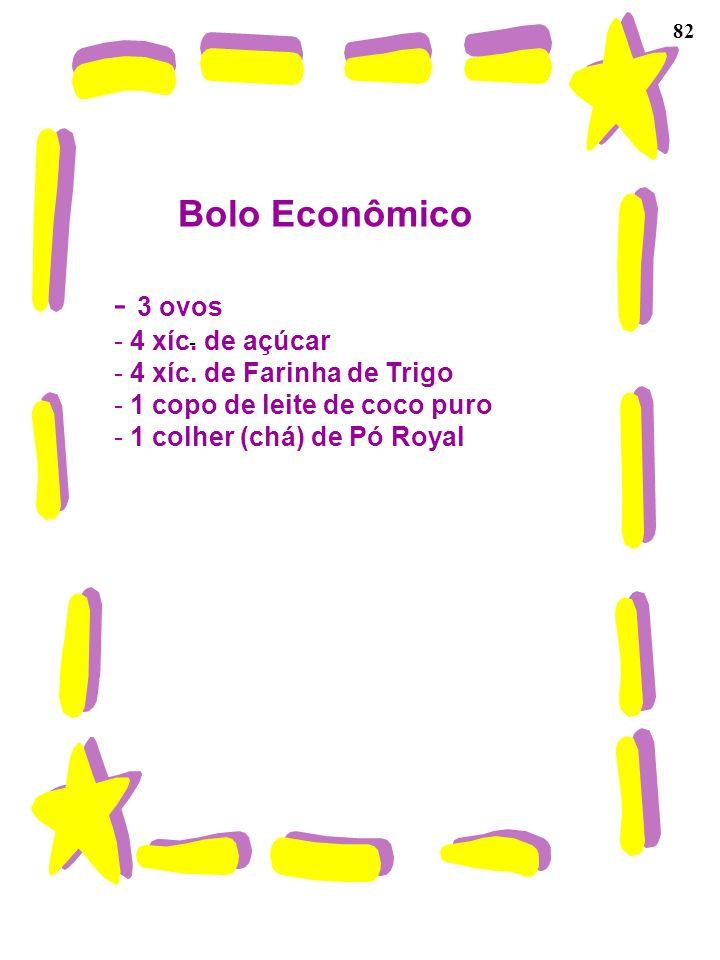 82 Bolo Econômico - 3 ovos - 4 xíc. de açúcar - 4 xíc. de Farinha de Trigo - 1 copo de leite de coco puro - 1 colher (chá) de Pó Royal -