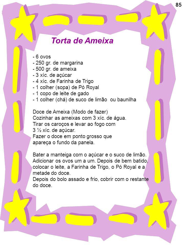 85 Torta de Ameixa - 6 ovos - 250 gr. de margarina - 500 gr. de ameixa - 3 xíc. de açúcar - 4 xíc. de Farinha de Trigo - 1 colher (sopa) de Pó Royal -