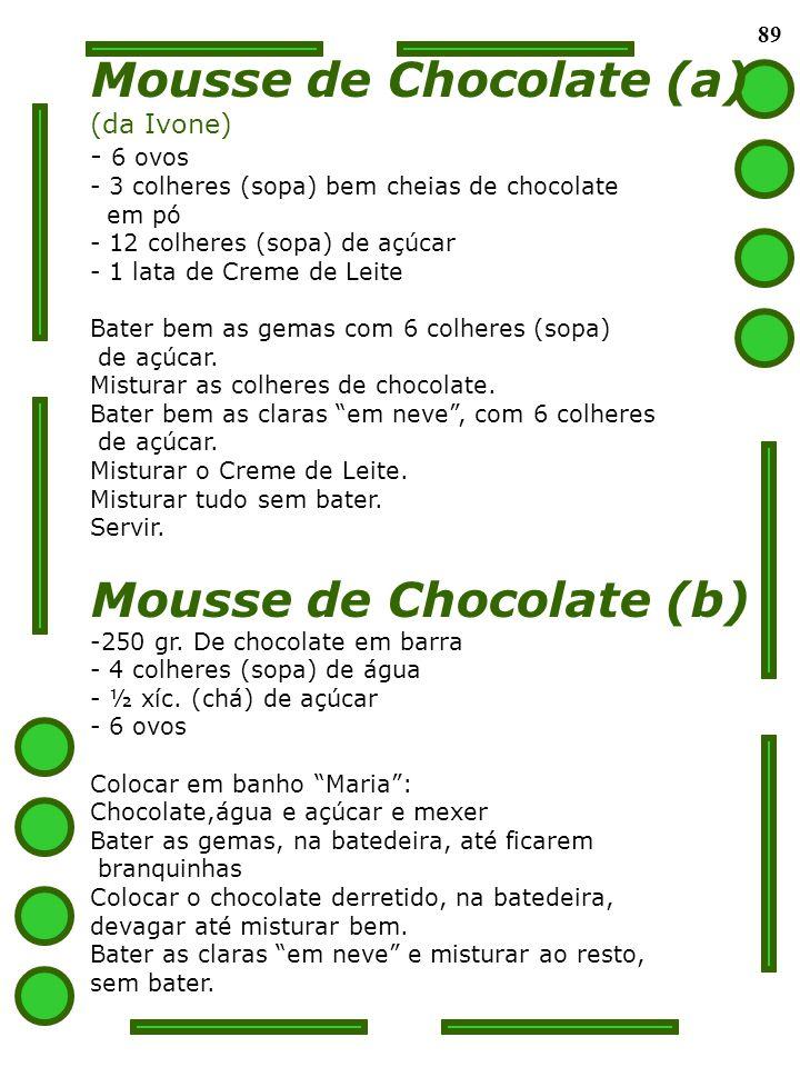 89 Mousse de Chocolate (a) (da Ivone) - 6 ovos - 3 colheres (sopa) bem cheias de chocolate em pó - 12 colheres (sopa) de açúcar - 1 lata de Creme de L
